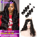 10A 360 Lace Frontal With Bundle Indian Body Wave Indian Virgin Hair Human Hair Bundles Lace Frontal Closure with Bundles