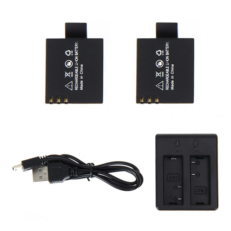 Hot!! 2 Pieces of <font><b>3.7</b></font> <font><b>v</b></font> 900 <font><b>mah</b></font> <font><b>battery</b></font> + dual charger for sjcam sj4000 sj5000 sj6000 sj <font><b>4000</b></font> 5000 camera accessories image