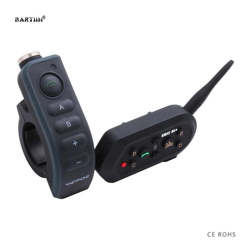 Bartun Remote Control Motorcycle Intercom Helmet Headsets Bicycle Bluetooth 6 Riders Interphone Car Earphone Intercomunicator