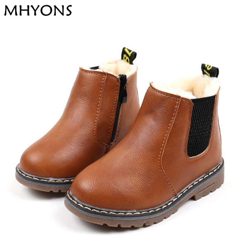 MHYONS 2018 Children Boots Boys Snow Waterproof Shoes Kids Leather Boots Boy Boots Girls Martin Warm Shoes Sport Shoes 21-30D mhyons 2018 winter girls boots thick warm shoes cotton padded boys girls boots girls cowhide snow boots kids shoes size 21 30