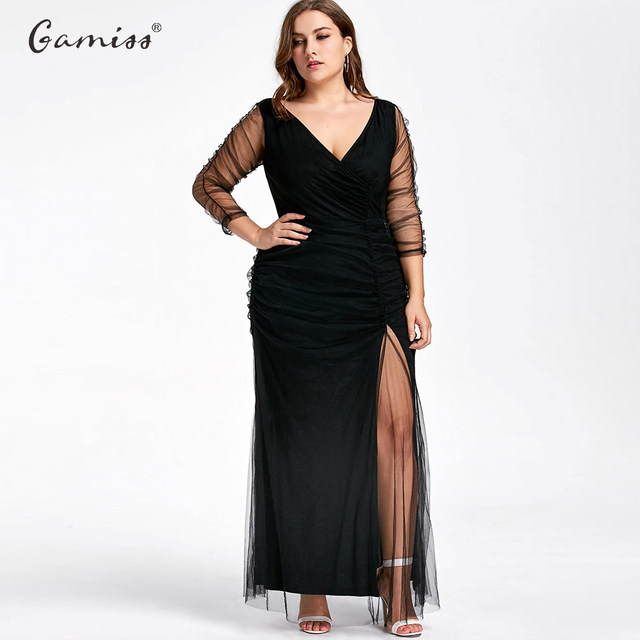 Online Shop Gamiss Plus Size Ruched Sheer Formal High Quality ...