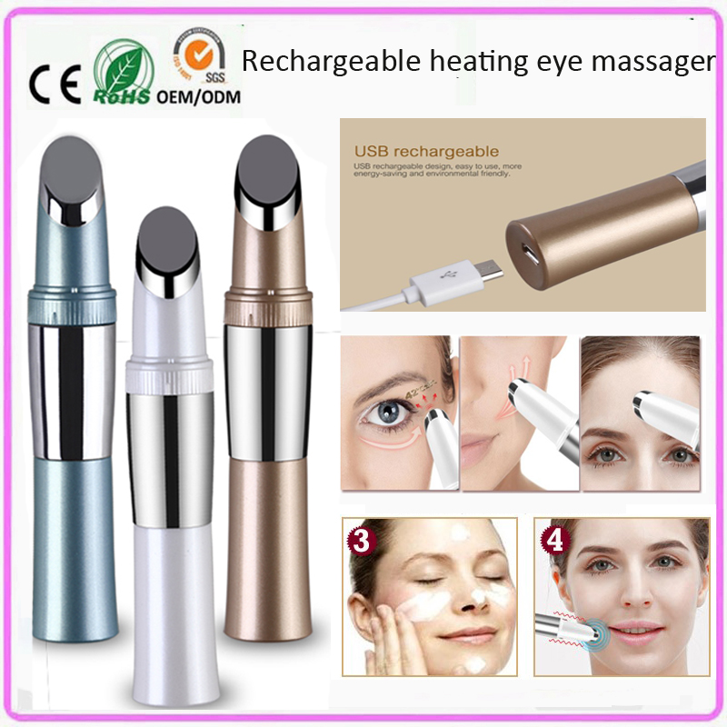 USB Rechargeable Infrared Heating Ionic Micro Vibration Anti Aging Wrinkle Dark Circle Pouch Removal Eye Skin Lifting Beauty Pen фен elchim 3900 healthy ionic red 03073 07