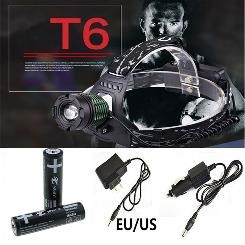 2000Lm XM-L T6 Zoomable LED Headlamp 18650 Zoom Head Flashlight Torch lamp 3modes Camping Climbing lighting meco xm l t6 2000lm zoomable led flashlight 18650