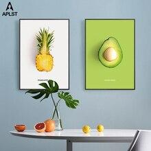 16 картины фруктов авокадо ананас Клубника киви плакаты детская столовая гостиная принты Скандинавская Живопись Искусство домашний декор