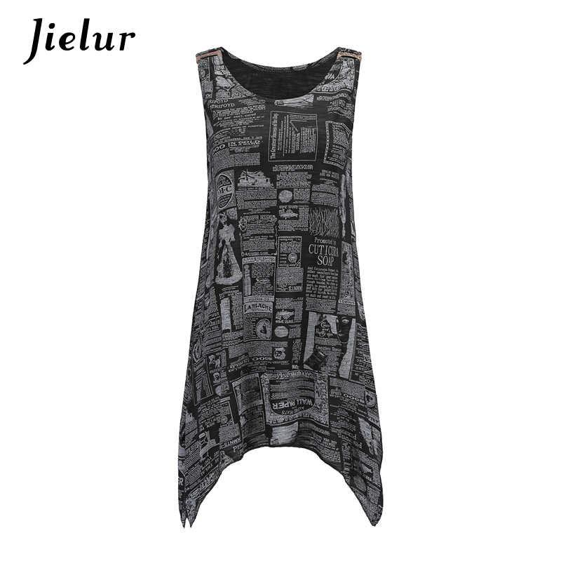 Jielur/Европейский Длинный топ без рукавов, женские летние майки с необычной пряжкой для отдыха, топы с круглым вырезом, свободные уличные крутые футболки s-xl