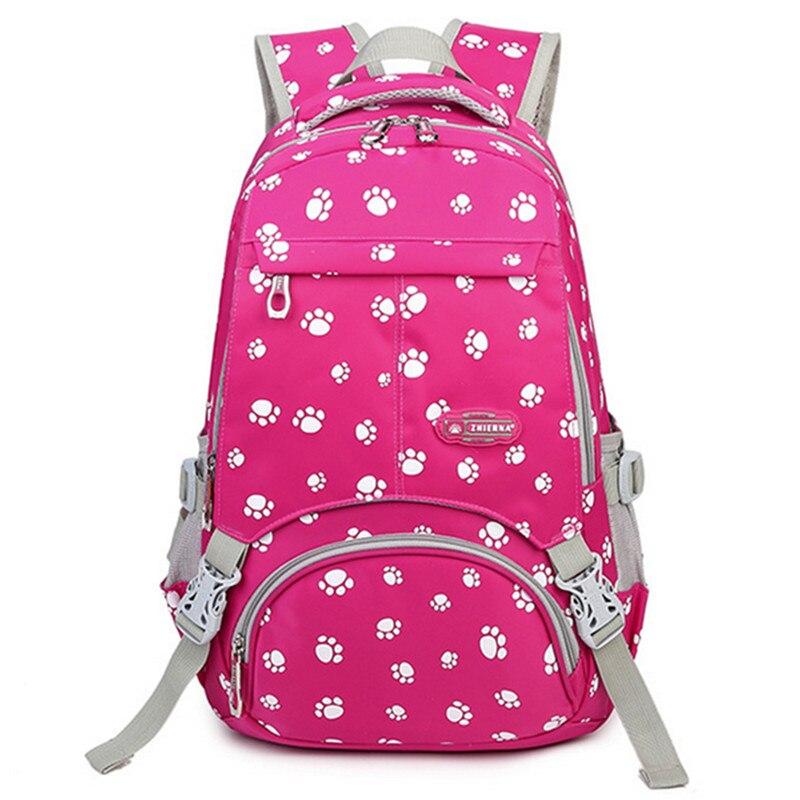 Большой Ёмкость Школьные ранцы для подростков Обувь для девочек портфель Для женщин Колледж студент дорожная сумка лапу печати рюкзак Mochilas