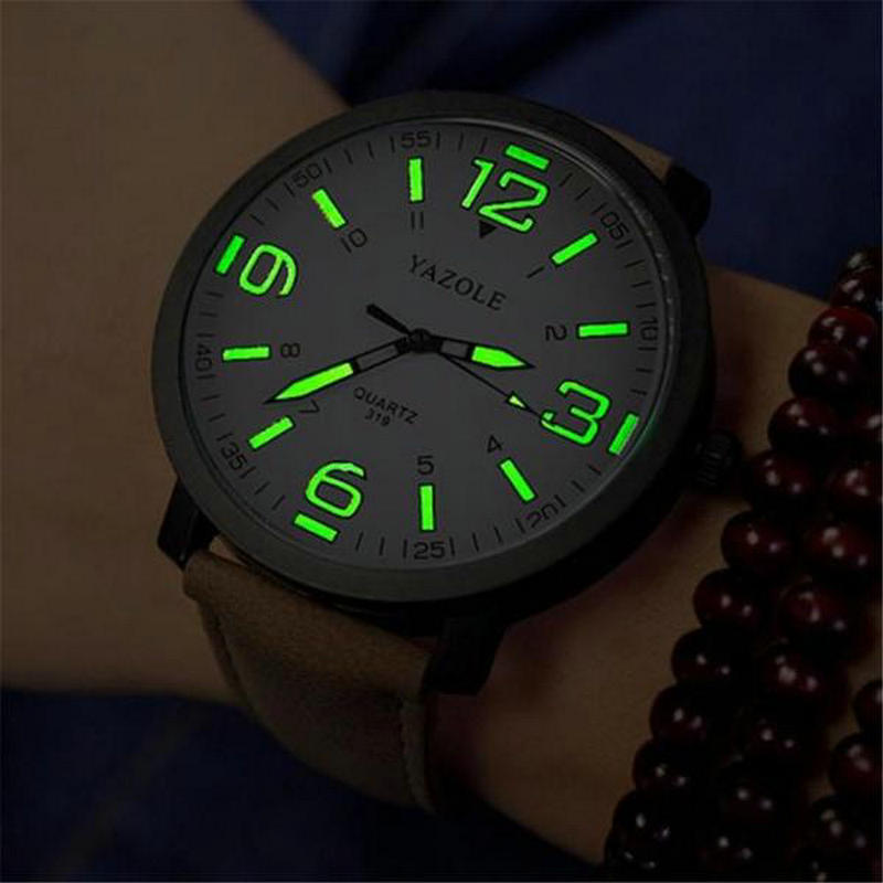 2018 Luminous PU Leather Men's Watches Luxury Men Military Quartz Army Wrist Watch Relogios Glow in Dark fashionable water resistant glow in dark wrist watch black white 1 x lr626