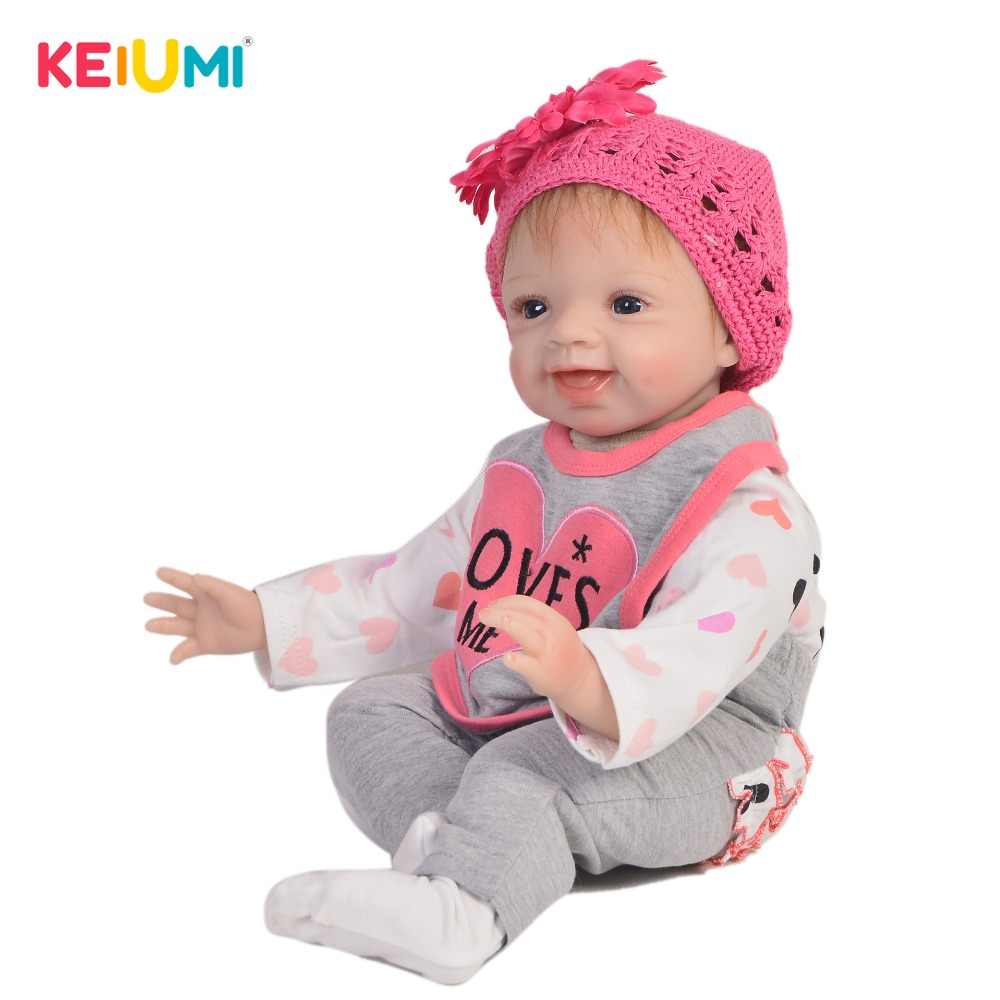 KEIUMI Cute 22 Inch Reborn Baby Doll Cloth Body Realistic Fashion Princess Baby Doll Toy For Children's Day Kid Xmas Gifts keiumi cute 22 inch reborn baby doll cloth body realistic fashion princess baby doll toy for children s day kid xmas gifts
