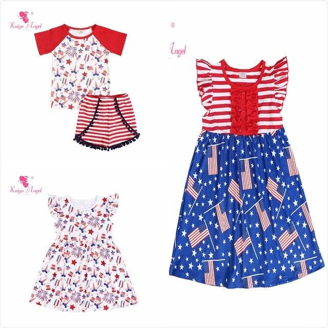 7984e6876422 Kaiya Angel 4th Of July Unicorn Fireworks Flag Patriotic Day 2018 Summer  Dress Baby Girl Summer Princess Party Wedding Clothes