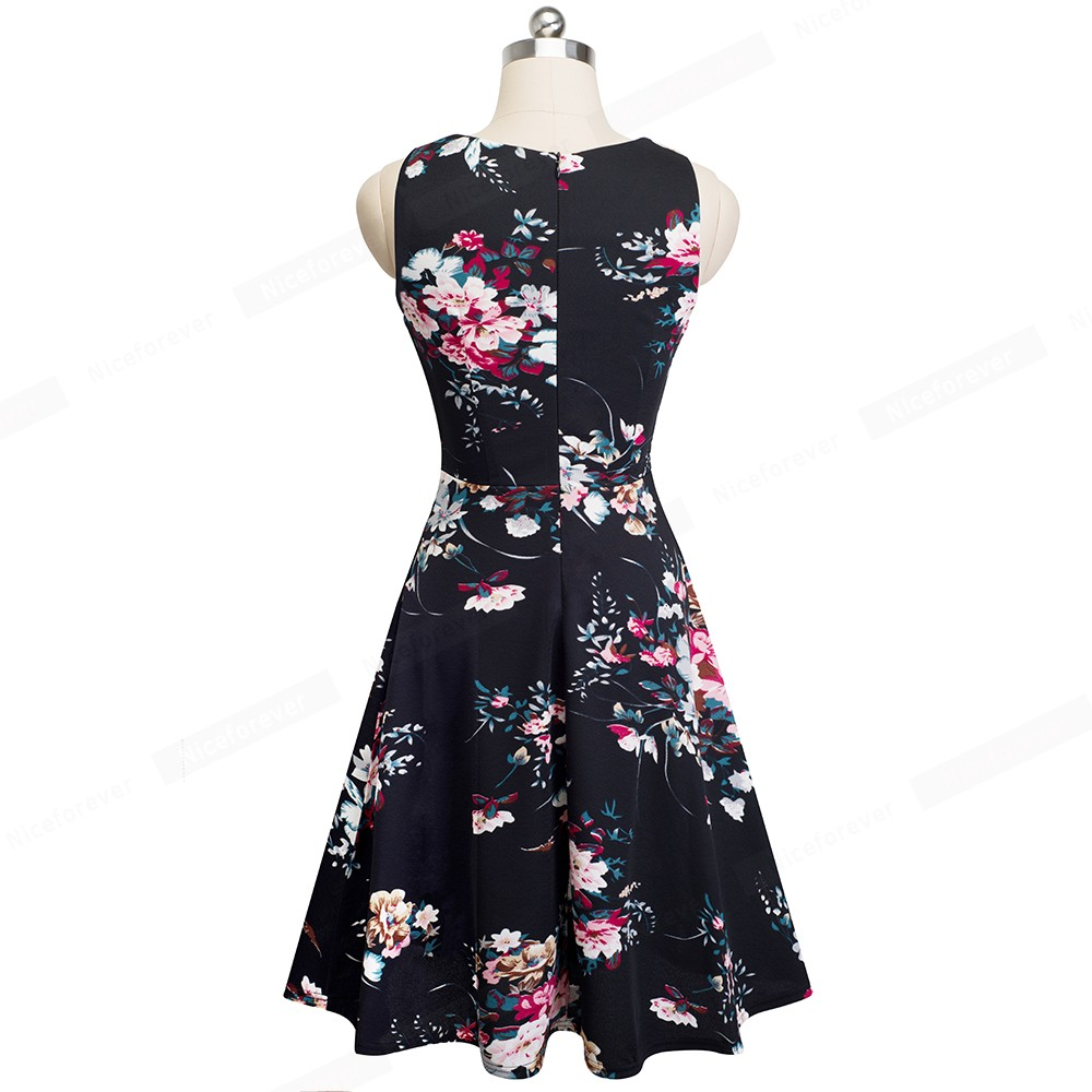 Nice-forever Vintage Elegant Embroidery Floral Lace Patchwork vestidos A-Line Pinup Business Women Party Flare Swing Dress A079 65