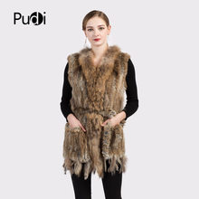 ee483fbad6 VR015 Women Genuine Natural Real rabbit fur Knitted Vests  Waistcoat  gilet  coats with tassels