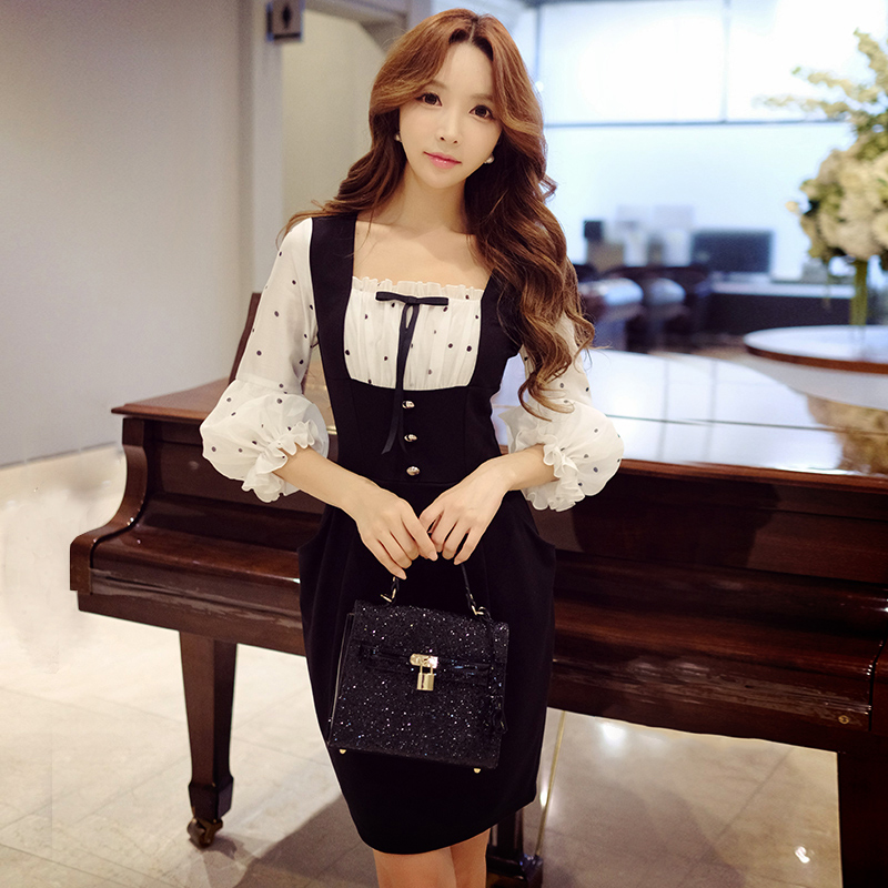 Dabuwawa New Women Vintage Dresses Ladies Elegant Dot High Waist Puff Sleeve Splicing Dresses D16DDR089