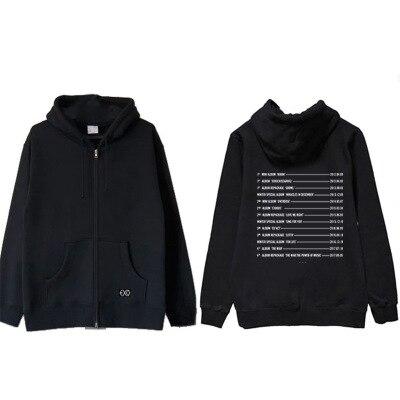 Nuevo kpop EXO Four Round Concert The Elyxion The Same BF chaqueta de estilo Sudadera con capucha sudadera suelta Sudadera con capucha abrigo con cremallera
