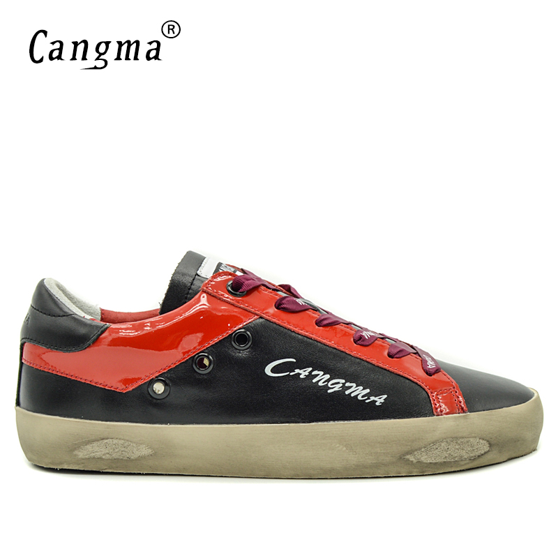 CANGMA Famous Brand Sneakers Men Shoes Black Mens Leather Casual Genuine Male Shoes Adult Breathable Shoes Man Footwear Comfort 2016 famous brand shoes golden goose oro women men basse genuine leather gz ggdb casual shoes stella noires superestrella ganso