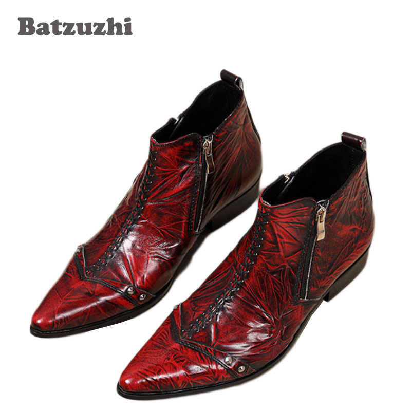 Batzuzhi Italian Style Boots Men Fashion Red Dress Leather Boots Zip Pointed Toe Red Leather Ankle Boots for Man Party/Wedding batzuzhi italian style boots men fashion red dress leather boots zip pointed toe red leather ankle boots for man party wedding