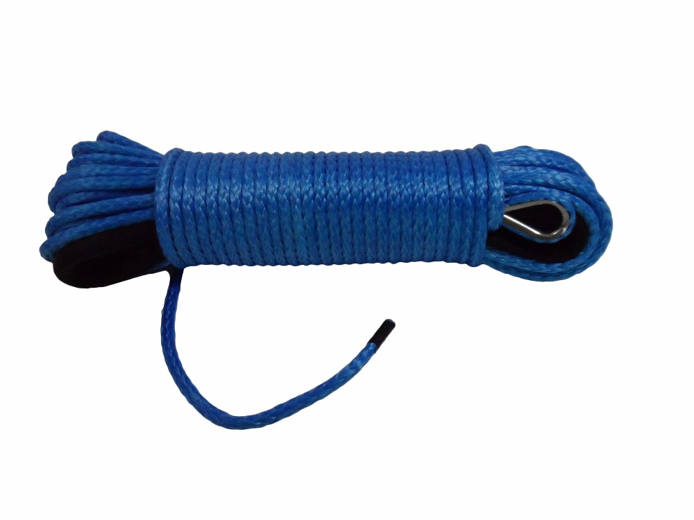 Free Shipping Blue 6mm*30m Synthetic Winch Rope, ATV Winch Line,Boat Winch Cable,Synthetic Rope 6mm for Off Road