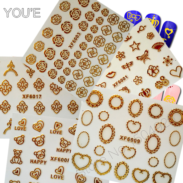 DIY Gold Nail Adhesive Sticker Feather Flower Design Decal For Nails Hollow Sticker Decoration Nail Brand Art Manicure