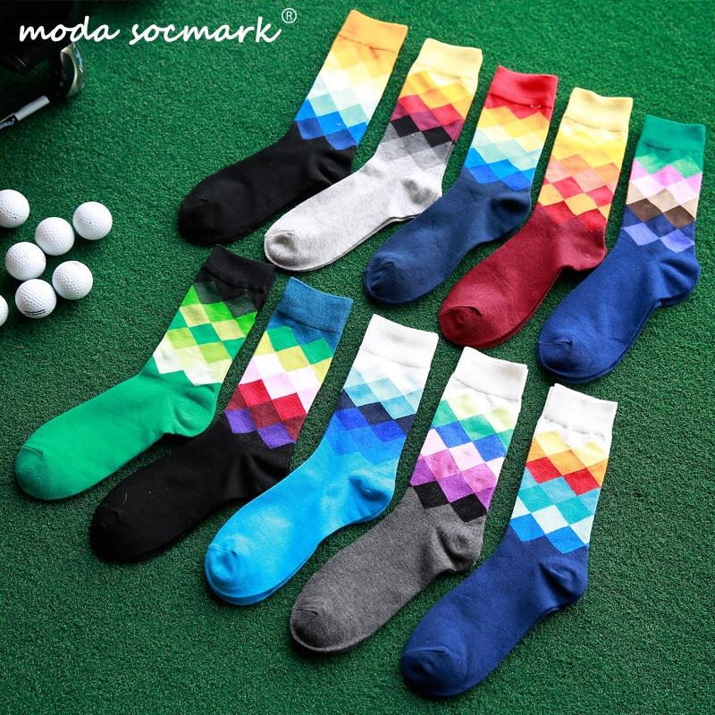 Moda Socmark Hot Sale Male Brand Happy Socks Gradient Color Summer Style Cotton Wedding Sock Men's Long High Business Socks Man