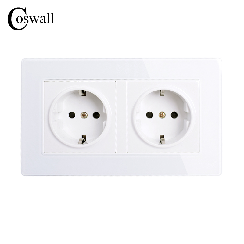 COSWALL Wall Crystal Glass Panel Power Socket Plug Grounded, 16A EU Standard Electrical Double Outlet 146mm * 86mmCOSWALL Wall Crystal Glass Panel Power Socket Plug Grounded, 16A EU Standard Electrical Double Outlet 146mm * 86mm
