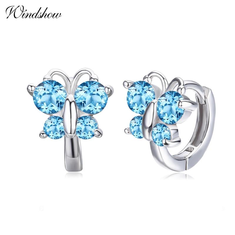 Cute 4colors Butterfly CZ 925 Sterling Silver Small Round Loop Huggies Hoop Earrings For Women Kids Baby Girls Children Aros
