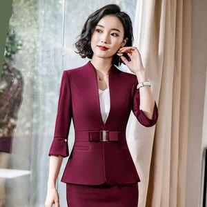 Image 2 - Dushicolorful משרד בגדי 2019 אביב קיץ נשים חצאית חליפות נשות egelant ללבוש רשמי שתי חתיכה חצאית סט אחיד שחור