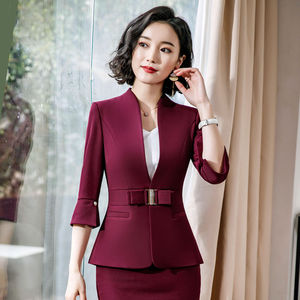 Dushicolorful office clothes 2019 Spring summer women skirt suits egelant ladies formal wear two piece skirt set uniform black
