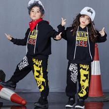 цена на Children Hip Hop Clothing Set Autumn Girls Sports Suits Boys Street Dance Clothes Outfit Kids Hoodies & Pants 2 Pcs Sets
