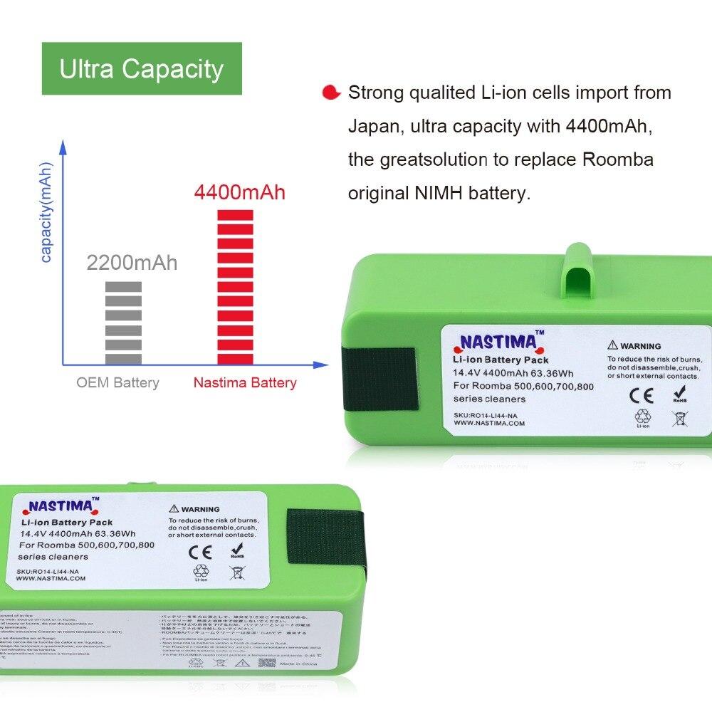 4400 mAh batterie li-ion compatible avec iRobot Roomba R3 500 600 700 800 900 Série 500 550 560 620 650 690 760 770 780 870 900 - 5
