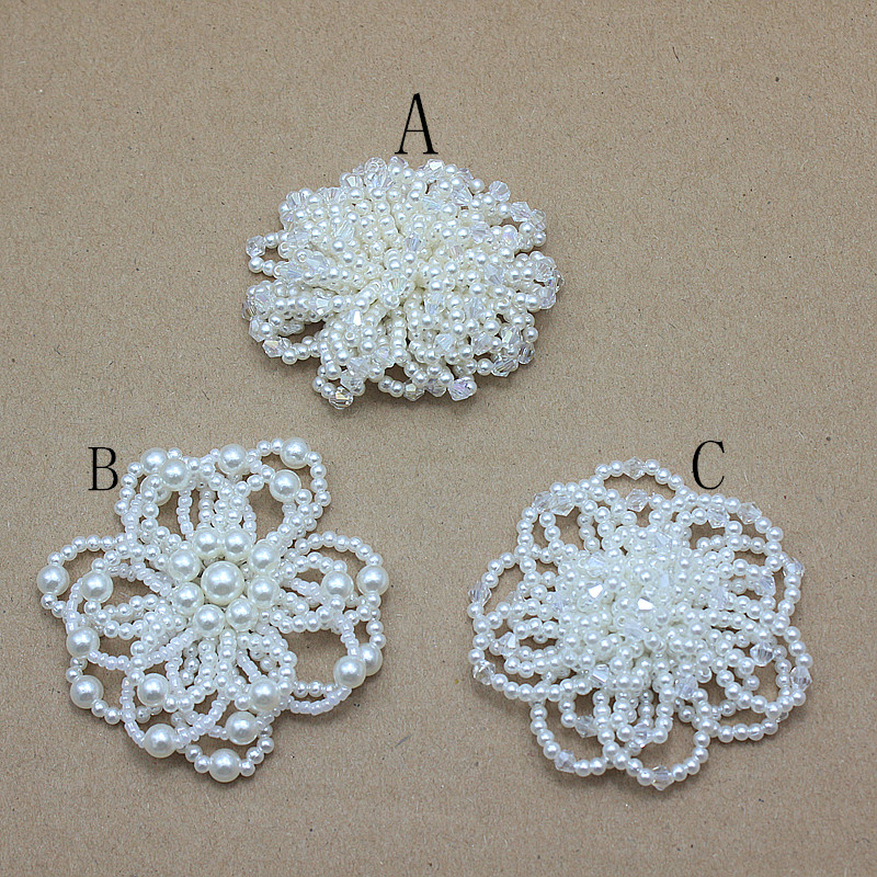 wedding Pearl flower handmade bows with beads for girl princess headband shoes dress hair accessories 24pcs