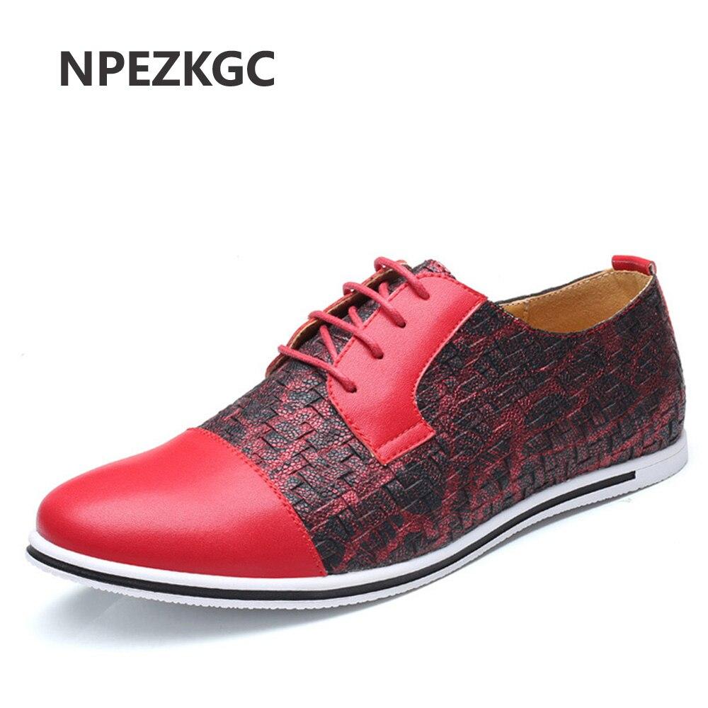 NPEZKGC Business Men Casual Shoes Handmade Breathable Comfortable Jeans Brand Men Shoes Leather Flat Men Oxfords Formal Shoes