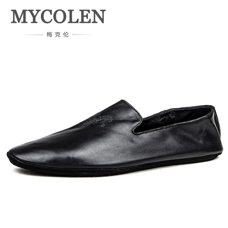 MYCOLEN New 2018 Autumn Winter Shoes Men Fashion Genuine Leather Footwear Men'S Casual Shoes Male Brand Loafers Soft Cowhide jancoco max new spring genuine soft cowhide leather men baseball caps autumn winter fashion solid army hats s3062