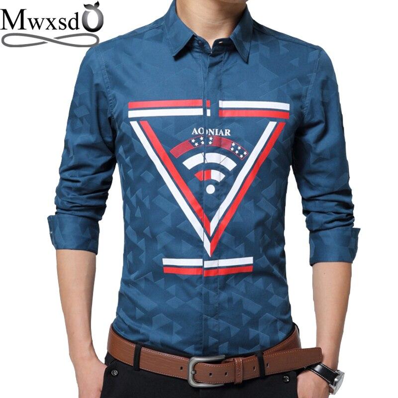2017 mens Casual printed Shirt Social cotton shirt Men brand Business Dress Shirt chemise homme social masculina