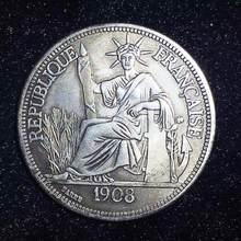 Obtener cupón 1908, moneda de plata de EE. UU., colección de Monedas de Europa de Ucrania, libertad, Francia, colección de Monedas coleccionables