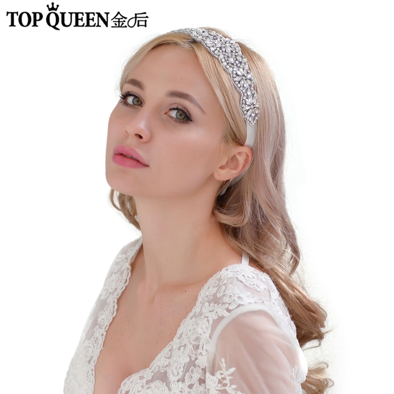 TOPQUEEN H94 Gorgeous Crystal Beaded Bridal Headband Wedding Rhinestone Headbands Hair Accessories Bride Ribbon Headbands