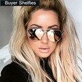 Puntos de lujo Del Ojo de Gato gafas de Sol de Las Mujeres Diseñador de la Marca Gafas de Sol de Las Mujeres Femeninas Señoras gafas de Sol Aviator Gafas de sol de Espejo de La Vendimia