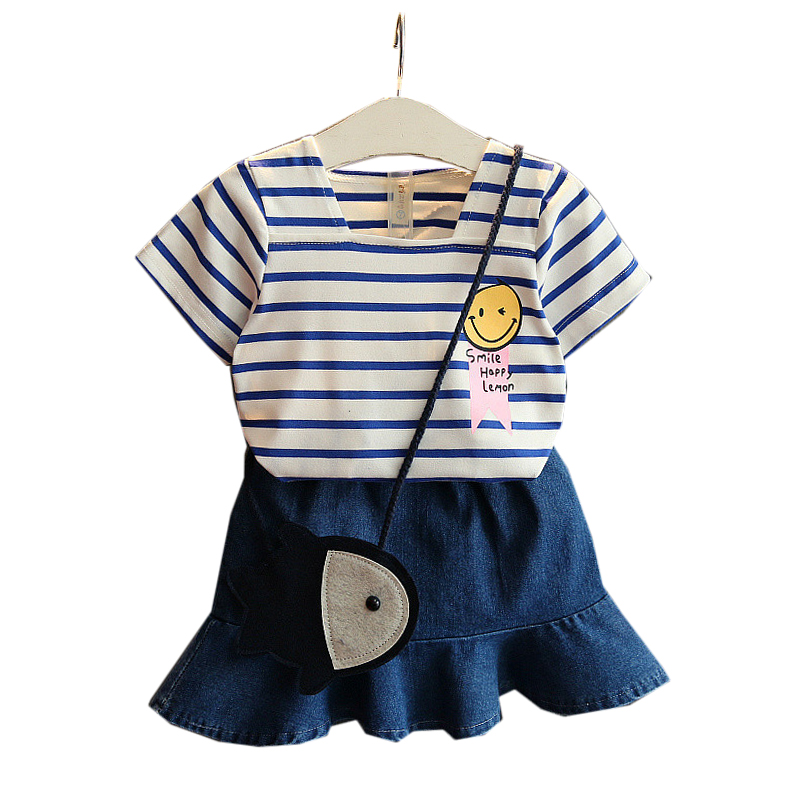 2 3 4 5 6 7 8 Year Girls Summer Clothes 2018 New Fashion Kids Suits Striped Smiley Face T-shirts Denim Skirts Children Clothing