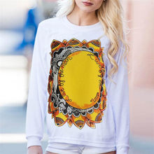 11 11 2017 Durable Fashion plus size Womens Loose Sunflowers Printing Long Sleeve Sweatshirt Pullover Tops Blouse #42(China)