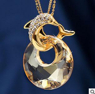 Venda de jóias finas de novo 2015 coreano de luxo Áustria cristal golfinhos acessórios longo colar de pingente camisola das mulheres por atacado/presente