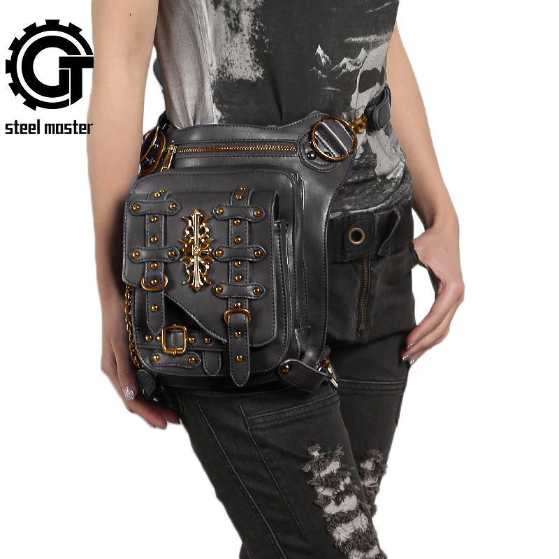 Vintage Rivet Retro Leg Bag Men Women Punk Gothic Waist Bag Fashion Black Crossbody Shoulder Bag Steampunk Leather Bags 2017 New punk rave daft punk rock armor jeans black rivet belt pattern pleated high waist trousers gothic disc flowers buttons pants