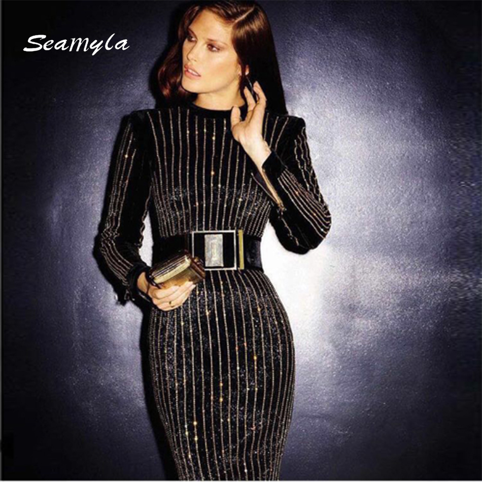Seamyla 2019 Luxury Beaded Strips Long Dress Women Sexy Black Runway - Women's Clothing - Photo 4
