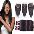 Annabelle Hair Company brazilian virgin hair with closure Brazilian Straight Hair Weave BundlesLuvin  Straight Hair With Closure