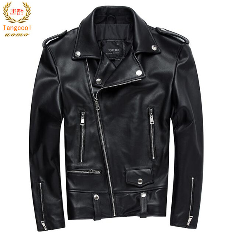 Men Motorcycle Leather Jacket 100% Genuine Sheepskin Punk Oblique zipper Bomber Biker Men Leather Jackets 4XL dhl free shipping top brand warm a1 clothing man 100% vintage italy leather jackets thick men s genuine leather biker jacket