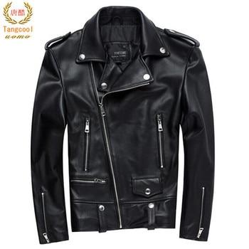 Men Motorcycle Leather Jacket 100% Genuine Sheepskin Punk Oblique zipper Bomber Biker Men Leather Jackets 4XL мужские кожанные куртки с косой молнией