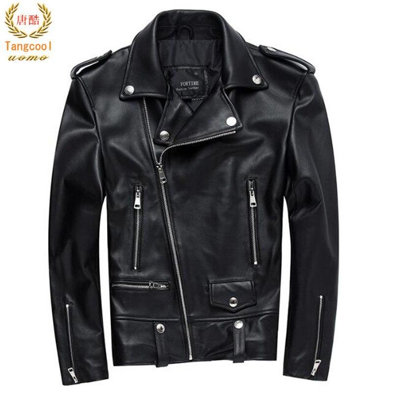 Hommes Moto Veste En Cuir 100% Véritable peau de Mouton Punk Oblique zipper Bomber Biker Hommes En Cuir Vestes 4XL