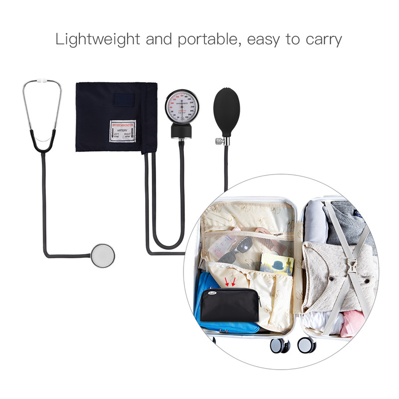 Professional Single Head Stethoscope for Medical Staff / Doctors / Nurses Medical Cuff Blood Pressure Arm Sphygmomanometer Pouch 2018 manual blood pressure cardiology stethoscope medical sphygmomanometer arm double head stethoscope health care