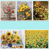 DIY Pictures Painting By Numbers Frameless Pictures Handwork Draw On Canvas Wall Sticker Flower DY116