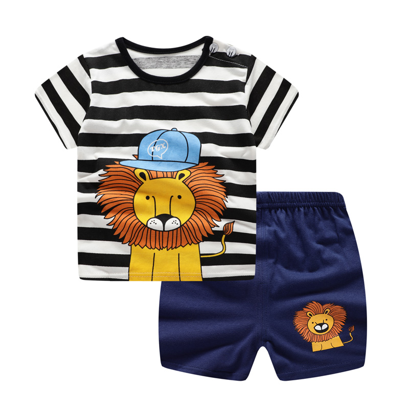 Summer Baby Boy Clothes Lion Animal Cartoon  New Baby Boy Girl Clothing Set Toddler Striped Bebes Suits