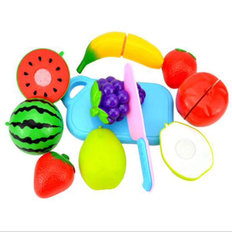 KAWO Colorful Miniature Food Cut Vegetables Toy Plastic Fruit Food Toys for Girls Boys Kitchen Pretend Play Set for Kids