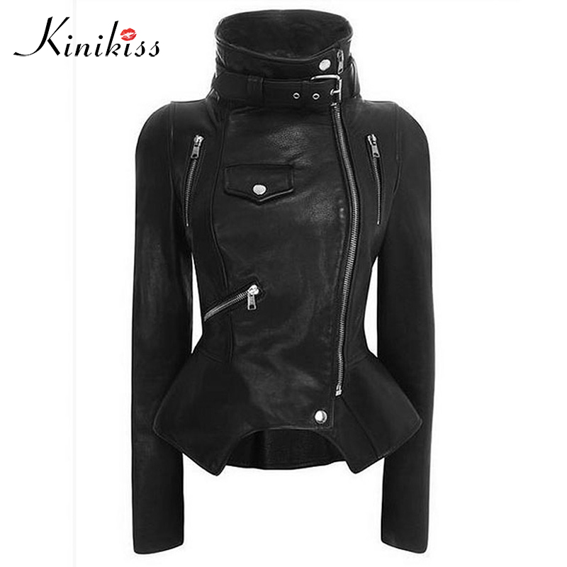 Kinikiss Motorcycle PU Jacket Women Winter Autumn New Fashion Coat Black Zipper Outerwear jacket New 2018 Coat HOT