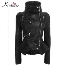 Kinikiss мотоцикл ПУ куртка Для женщин зима-осень Новое модное пальто черная молния верхняя одежда куртка Новый 2017 Куртка Лидер продаж